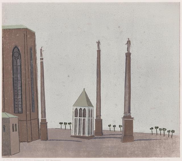 Platz mit drei Säulen - Bologna, Linolschnitt 1966