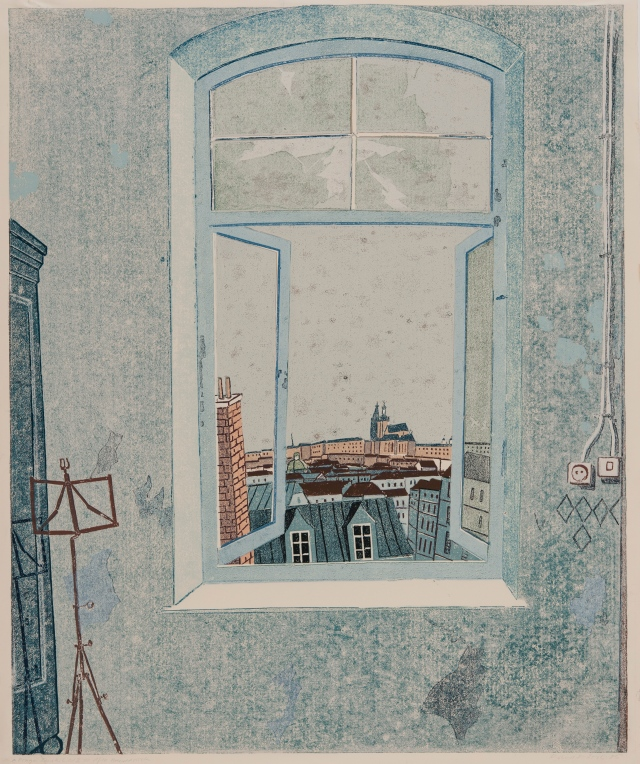 Prager Fensterbild II - mit Hradschin, Linolschnitt 1985