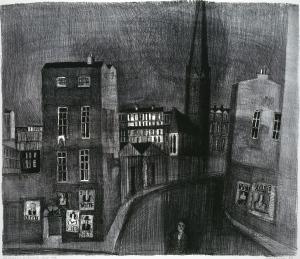 Die Schwarze Kathedrale - Dublin, Lithografie 1959