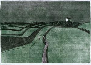 Feldweg auf Aran, Linolschnitt 1958