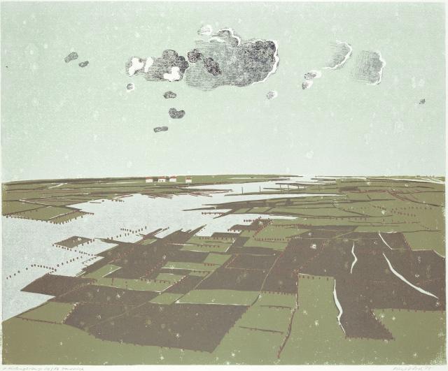 Austergärten in Oléron, Linolschnitt 1973