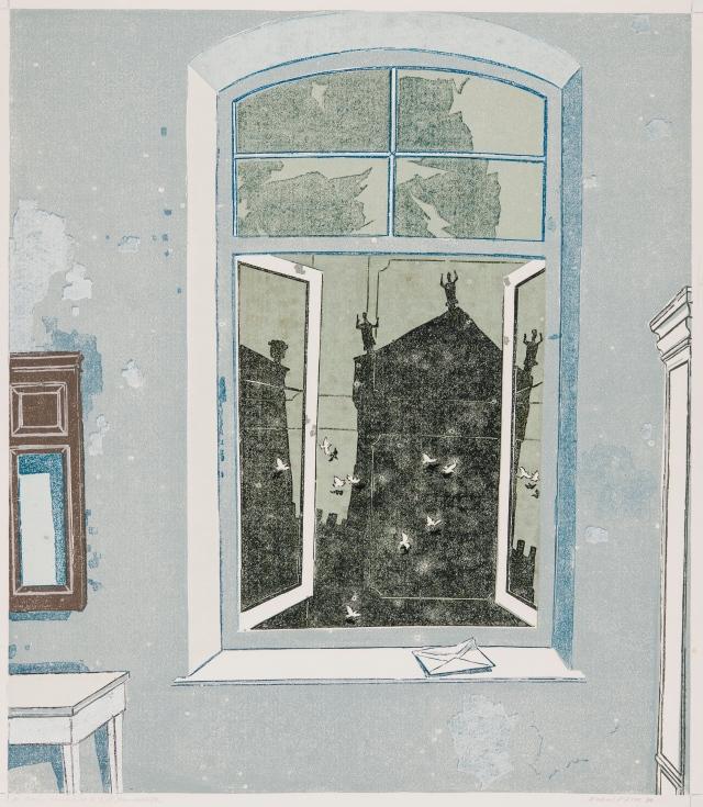 Prager Fensterbild I, Linolschnitt 1985