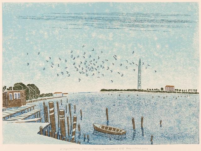 Vogelschwarm über der Lagune, Linolschnitt 2008